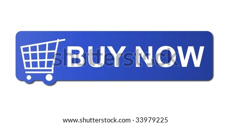 Buy now button with a shopping cart on white background. - stock photo