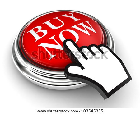 buy now red button and cursor hand on white background. clipping paths included - stock photo