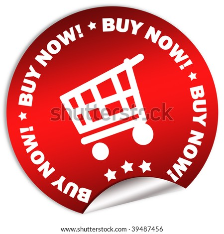 Buy now sticker - stock photo