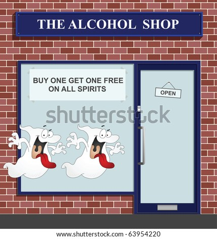 Buy one get one free on all spirits - stock photo