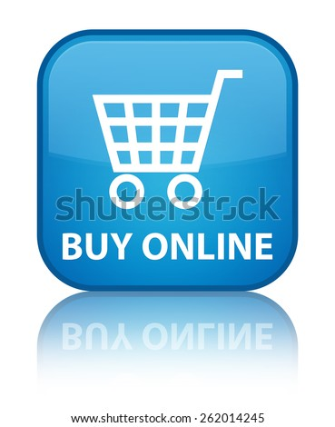 Buy online cyan blue square button - stock photo