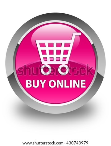 Buy online glossy pink round button - stock photo