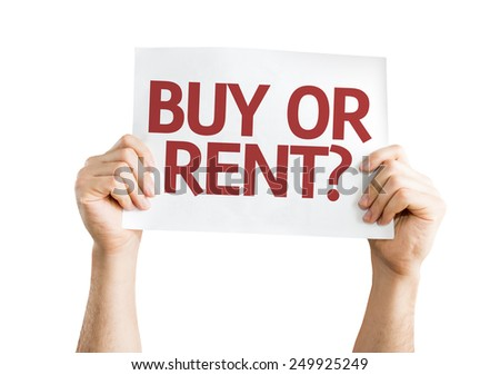 Buy or Rent? card isolated on white background - stock photo