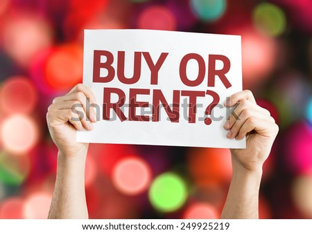 Buy or Rent? card with colorful background with defocused lights - stock photo