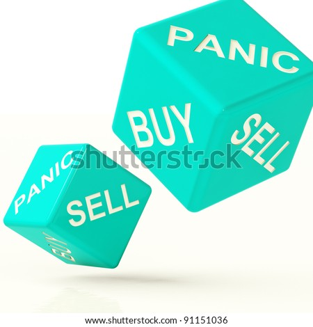 Buy Panic And Sell Blue Dice Representing Market Turmoil