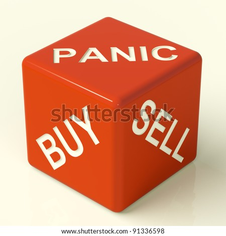 Buy Panic And Sell Red Dice Representing Market Stress - stock photo