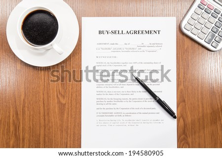 buy sell agreement - stock photo