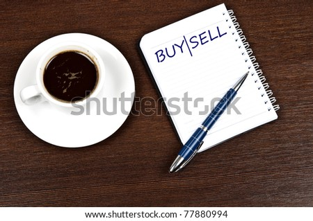 Buy|Sell message and coffee