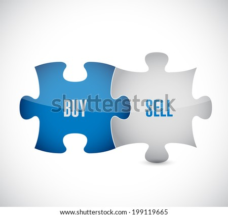 buy, sell puzzle pieces illustration design over a white background - stock photo