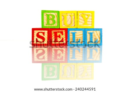 buy sell word reflection on white background