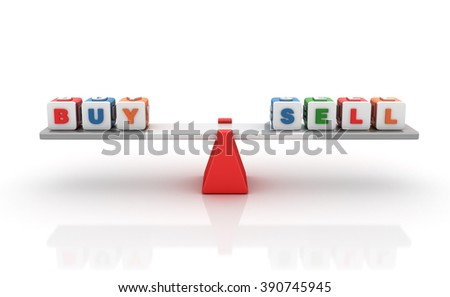 Buy Sell Words Balancing on a Seesaw - Balance Concept - High Quality 3D Render   - stock photo