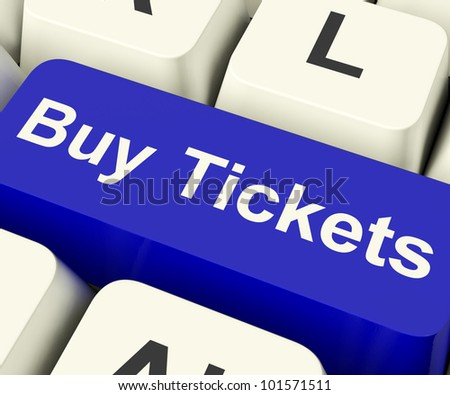Buy Tickets Computer Key Shows Concert Or Festival Admission Purchases Online - stock photo