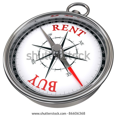buy versus rent concept compass isolated on white background
