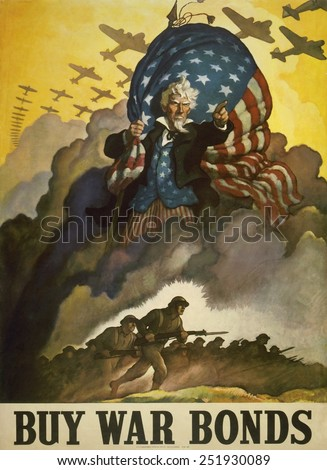 Buy War Bonds.' World War 2 poster of Uncle Sam. He holds a U.S. flag and points his finger as fighting troops, with airplanes flying overhead, advance from a cloud of smoke. 1942. - stock photo