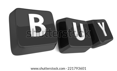 BUY written in white on black computer keys. 3d illustration. Isolated background. - stock photo