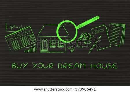 buy your dream house: magnifying glass analyzing a house, with sector newspaper, stats, keys, wallet and mortgage contract - stock photo