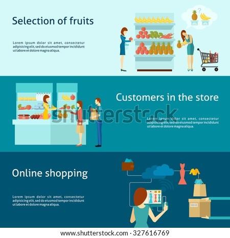 Buyer horizontal banner set with flat online shopping elements isolated  illustration - stock photo