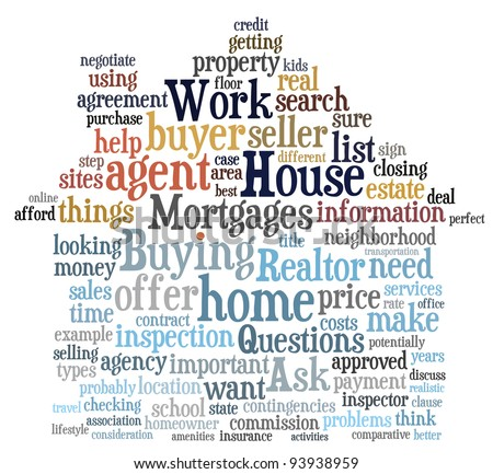 Buying home issues info-text (cloud word) composed in the shape of a house on white background - stock photo