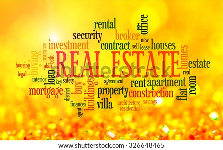 Buying home issues info-text word cloud on yellow golden background - stock photo