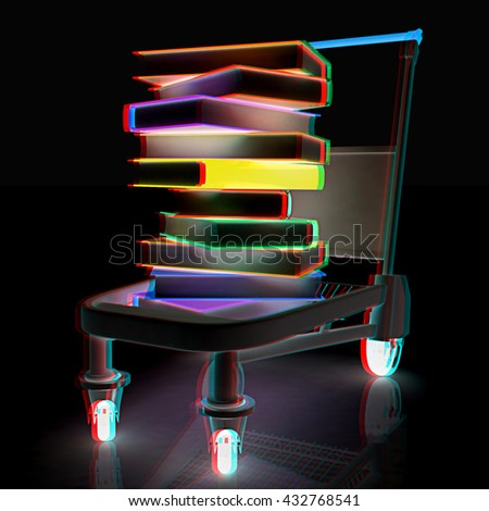 Buying of  books on a black background. 3D illustration. Anaglyph. View with red/cyan glasses to see in 3D.