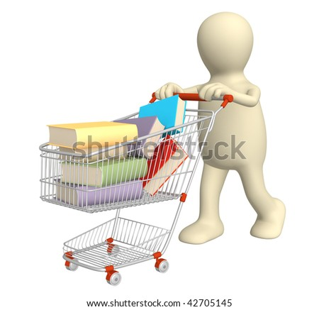 Buying of books. Over white - stock photo
