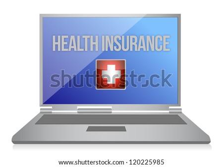 buying online health insurance concept illustration design - stock photo