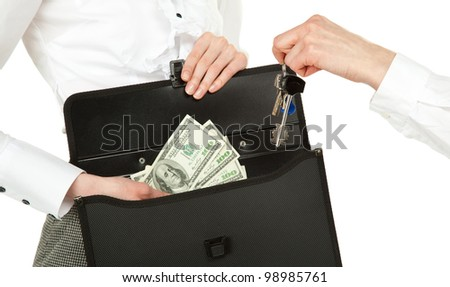 Buying or renting real estate (house, apartment, office); women exchanging keys and money isolated on white