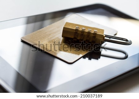 Buying safe on line with credit card - stock photo