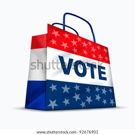 Buying votes and political corruption as electoral fraud by paying to buy voters in an honest democratic election for a candidate for president or government officials in a shopping bag. - stock photo