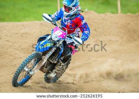 BUZAU, ROMANIA - JUNE 15: An unidentified rider participates in the World Endurocross Championship on June 15, 2013 at Maracineni in Buzau, Romania