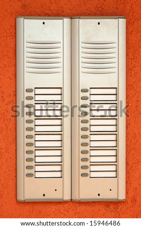 Buzzer system for a block of flats - stock photo