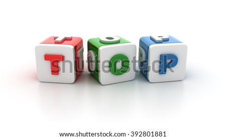 Buzzword Blocks Spelling TOP Text on White Background - Reflections and Shadows - High Quality 3D Rendering