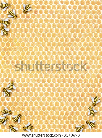 buzzz - illustrated honeycomb with bees - stock photo