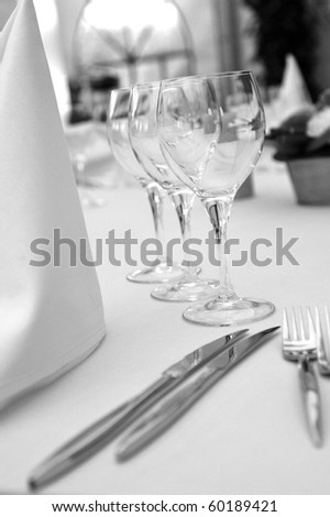 BW catering table - stock photo