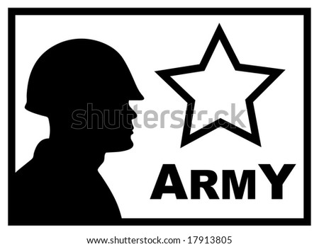 BW military poster with silhouette of soldier - stock photo