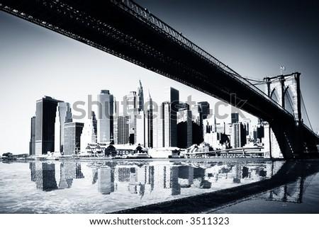 BW new york siluette - stock photo