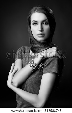 BW portrait of attractive brunette sexy girl