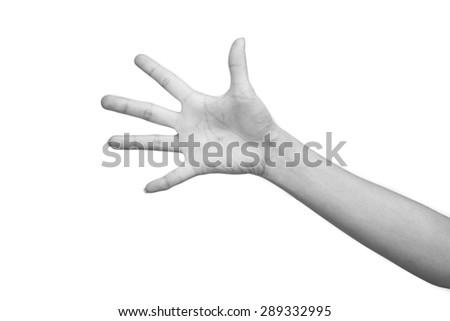BW tone of Woman hand making sign. Isolated on white background - stock photo