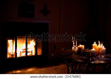 By the fireplace - stock photo