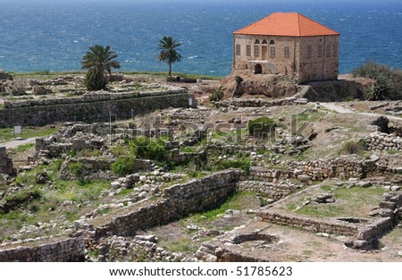 Byblos:landmark archaeological site, inhabited since thousands of years (Lebanon) - stock photo
