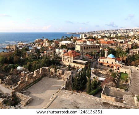 Byblos, view from the crusader castle - stock photo