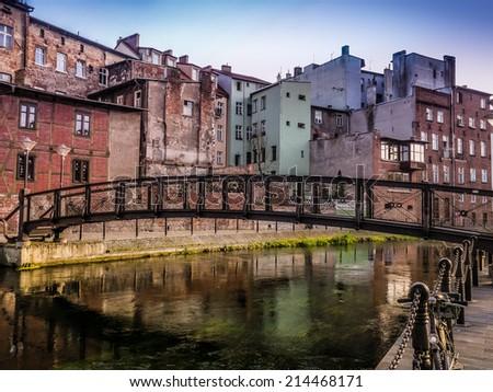 Bydgoszcz Canal with metal footbridge, Bydgoszcz, Poland - stock photo