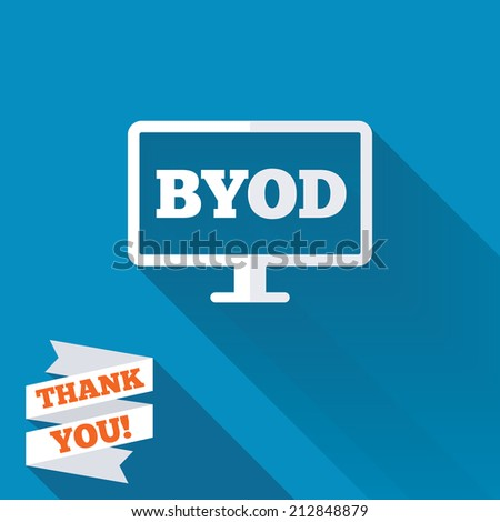 BYOD sign icon. Bring your own device symbol. Monitor tv icon. White flat icon with long shadow. Paper ribbon label with Thank you text. - stock photo