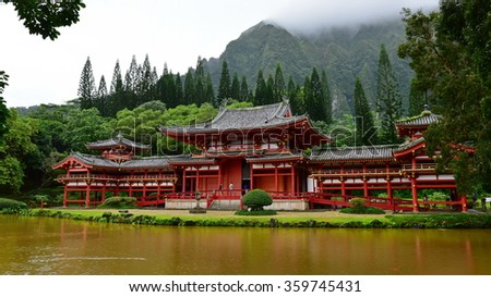 Byodo-in Temple in Hawaii, a replica of the historic Byodo-in Temple of Uji in Kyoto prefecture of Japan - stock photo