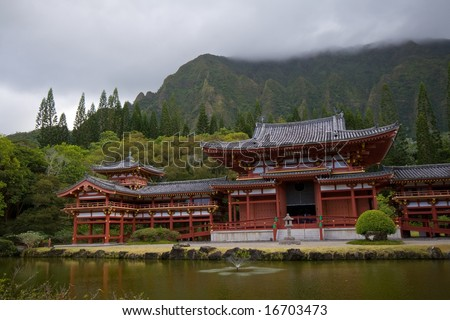 Byodo-In Temple in Valley of Temples on Oahu, Hawaii