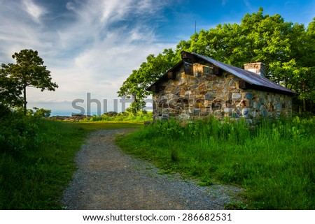 Byrds Nest Shelter on Hawksbill Summit, in Shenandoah National Park, Virginia. - stock photo