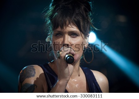 BYRON BAY, AUSTRALIA - APRIL 3 : Beth Hart performs on the Mojo stage at the 2015 Byron Bay Bluesfest. 26th annual Blues and Roots festival. - stock photo