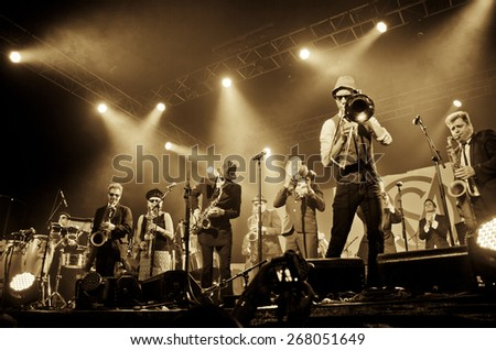 BYRON BAY, AUSTRALIA - APRIL 5 : Melbourne Ska Orchestra play on the Crossroads stage at the 2015 Byron Bay Bluesfest. 26th annual Blues and Roots festival. - stock photo