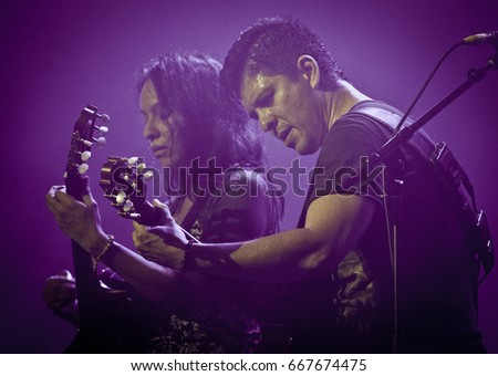 BYRON BAY, AUSTRALIA - APRIL 4 : Rodrigo Y Gabriela plays the Crossroads stage at the 2015 Byron Bay Bluesfest. 26th annual Blues and Roots festival.