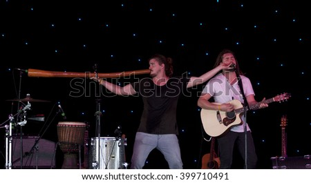 BYRON BAY, AUSTRALIA - MARCH 26 :The Pierce Brothers plays on the Juke Joint stage at the 2016 Byron Bay Bluesfest. 27th annual Blues and Roots festival. - stock photo